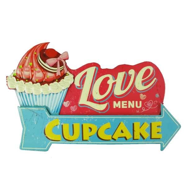 Blechschild Cupcake Muffin Küche Deko Tür Wand Schild Metall Retro Nostalgie Blech 3D