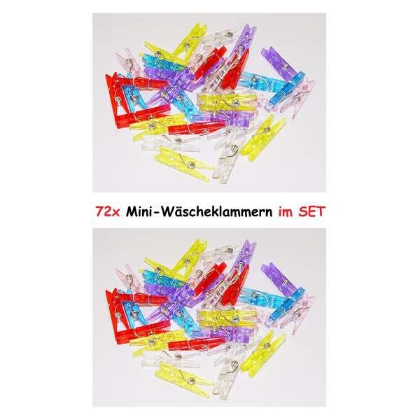 72x Mini Wäscheklammern Deko Bastel Klammer Kunststoff Clip Pinnwand Zubehör bunt