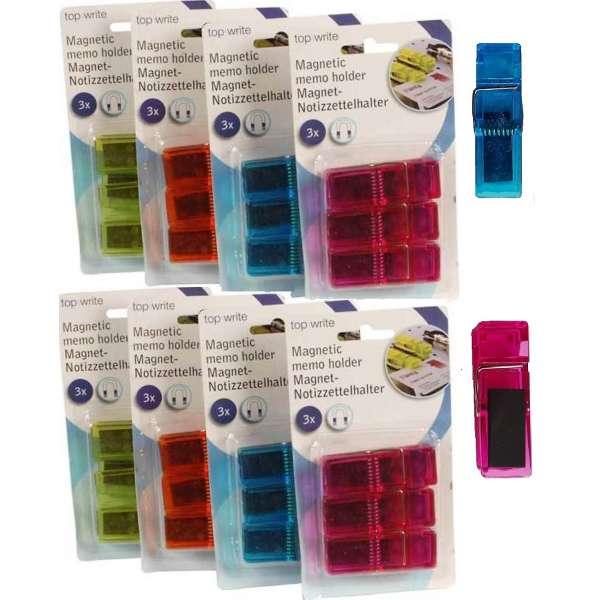 24er Set Magnet Klammern Memohalter Clips bunt Zettelhalter Kühlschrank Magnete
