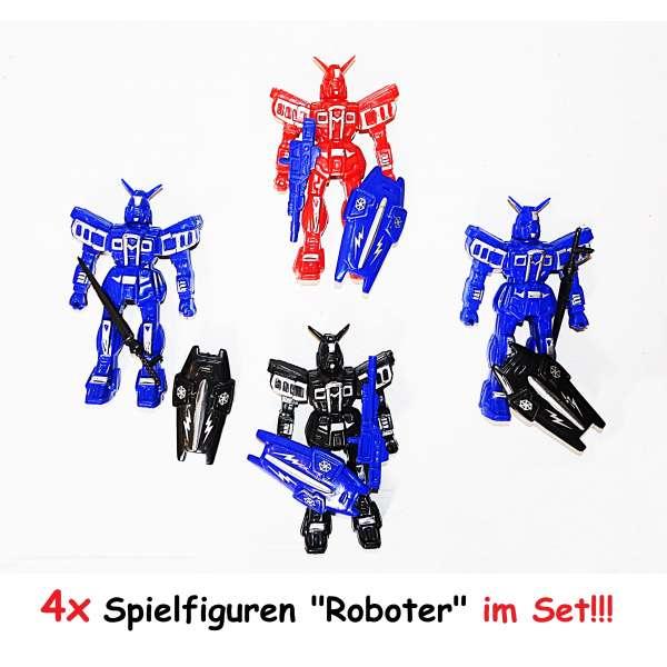 4er Set Spielfigur Roboter Transformer 9,5cm Kinder Mitgebsel Tombola Geburtstag