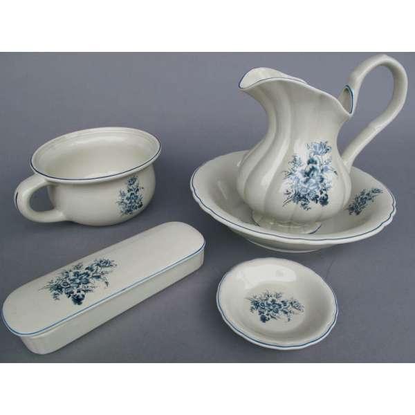 5tlg Waschset Porzellan Blau Blume Nostalgie Wasch Schüssel Seifen Schale Topf