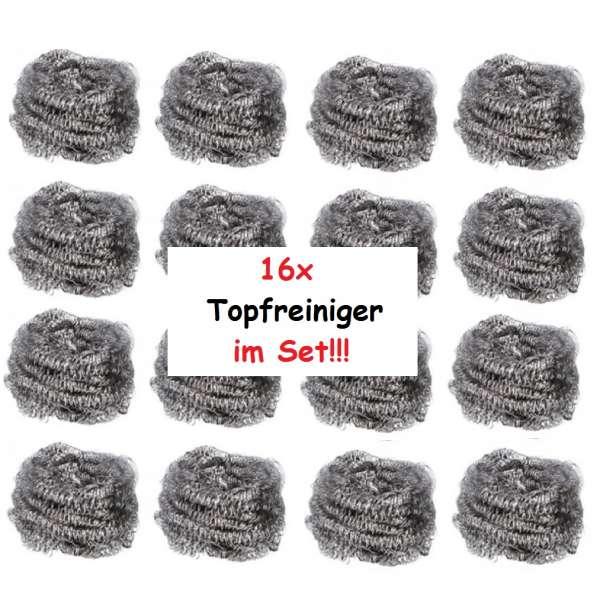 16x Topfkratzer Topfreiniger Stahlschwamm Reiniger Edelstahl Scheuerschwamm Schwamm