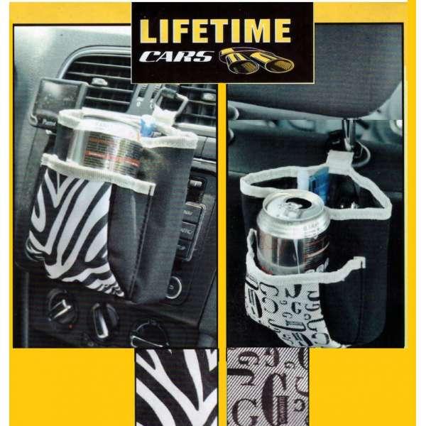 Getränkehalter Organizer mit 2 Taschen KFZ Auto universal vorne hinten Abfall
