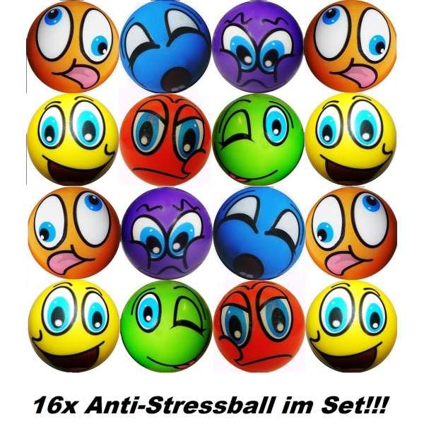 16x Anti Stressbälle Smiley Wurf Stress Knet Jonglierball Schaumstoff Ball bunt