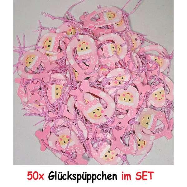 50x Anhänger Mitgebsel Geburt Taufe Baby Party Glücksbringer Geschenk aus Holz rosa