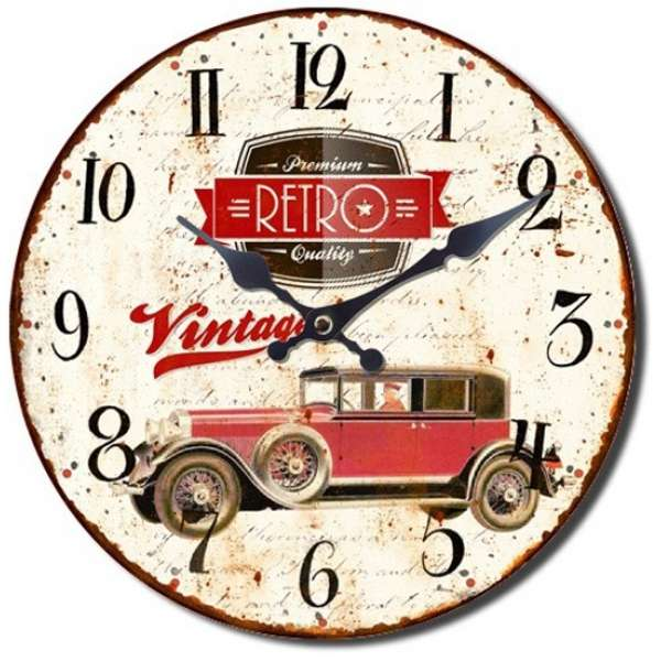 Wanduhr 28cm Holz OLDTIMER Premium Retro Qual Nostalgie Vintage Uhr Shabby Chick