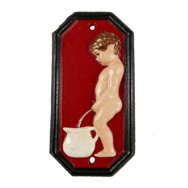 WC Toiletten Türschild Gusseisen Hinweis Schild Junge am Topf Herren 3D rot