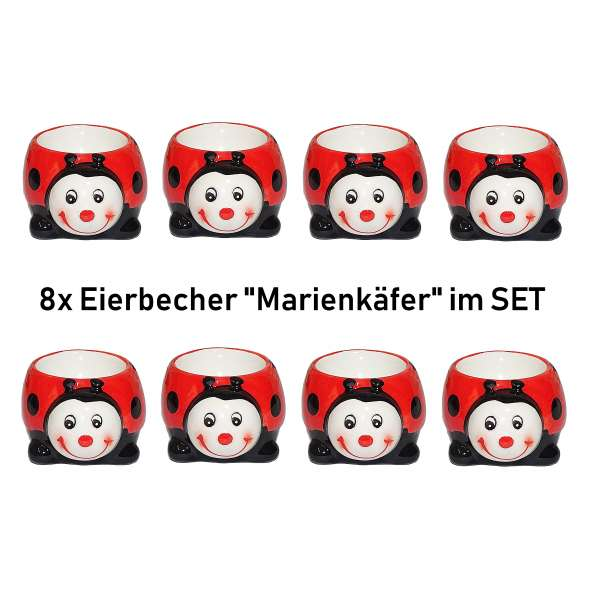 8x Lustige Eierbecher Marienkäfer im Set Tiere aus Keramik rot Geschenkidee