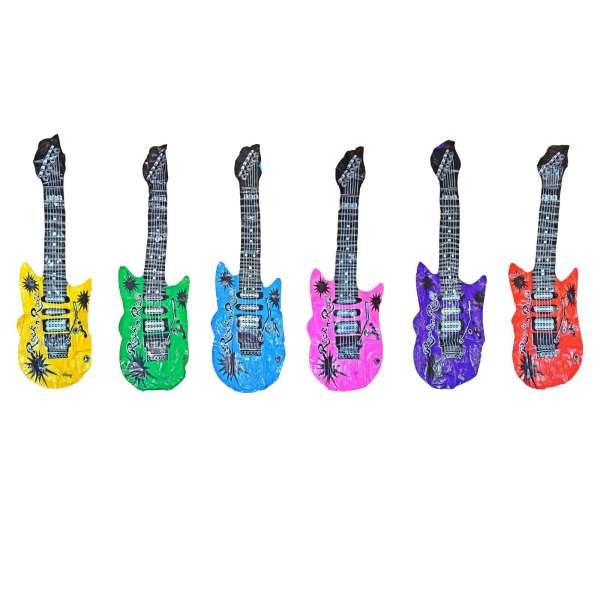 6x Luftgitarre Luft Gitarre aufblasbar Rock n Roll Party lustig 100cm versch. Farben