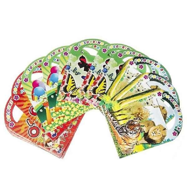 12x Malbuch Ausmalbuch mit Henkel Sticker Kinder Mädchen Jungen Buchstaben Tiere