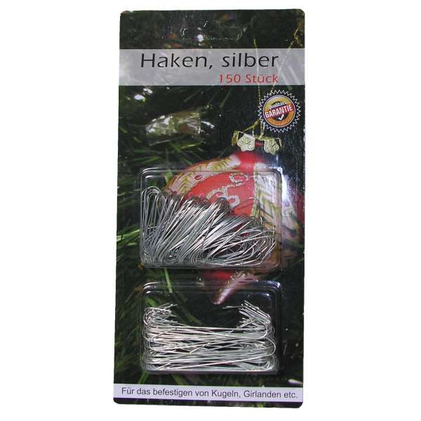 150x Aufhänger Haken Weihnachtskugel Christbaumschmuck Kugel Girlanden silber