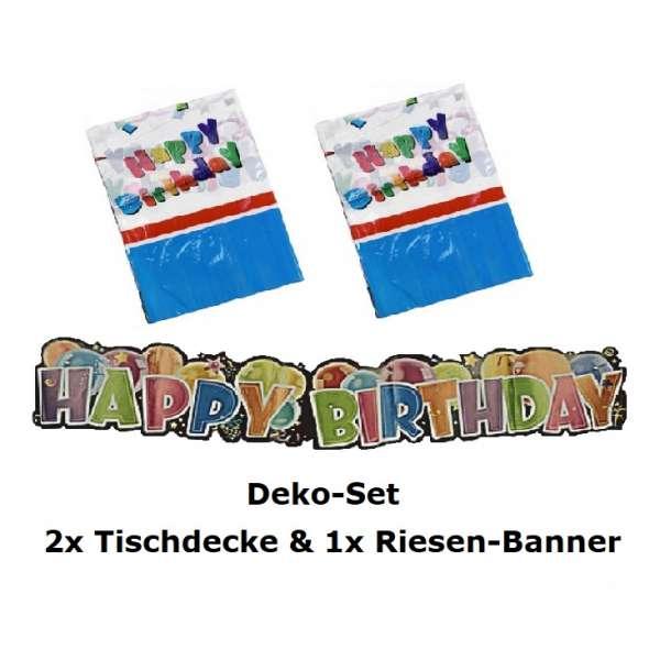 Geburtstags Deko Set Tischdecke Girlande Riesen Banner Happy Birthday mehrfarbig