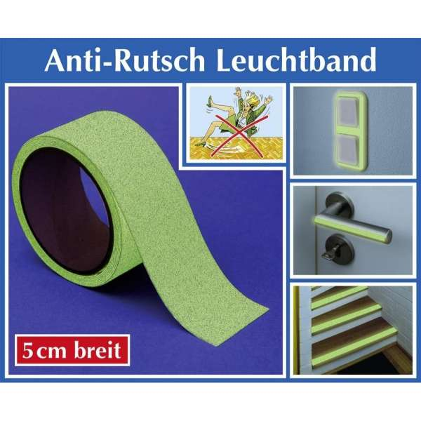 WENKO Anti-Rutsch Leuchtband 2m x 5cm Nacht leuchtend glow in the dark