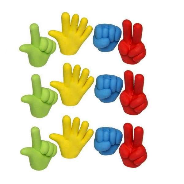 12er Set Hand Radiergummi Radierer Mitgebsel Kindergeburtstag Party Tombola bunt