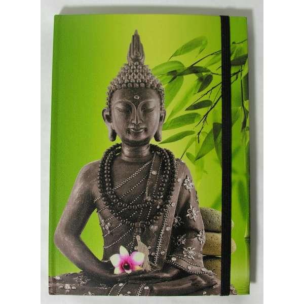 Notizbuch Buddha kleiner A5 Tagebuch Diary Feng Shui grün liniert Gummiband Paperblanks