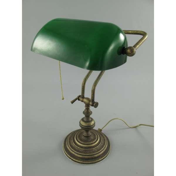 Nostalgische Bankerlampe aus Messing grün Bankers Lamp Banker Schreibtischlampe