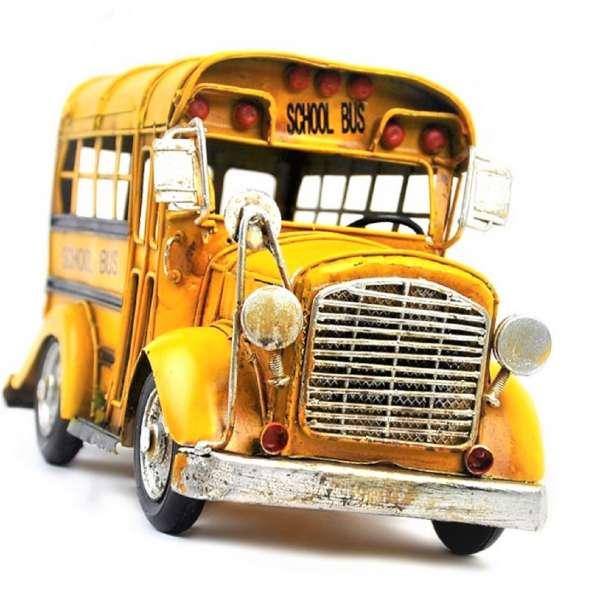 Retro School Bus 26,5cm USA Schulbus NYC gelb yellow Blech Modell Deko Oldtimer