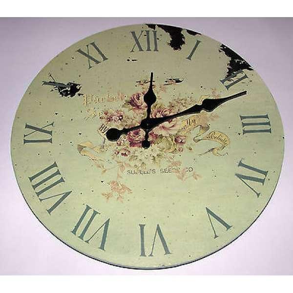 Große Wanduhr Küchenuhr ROSE 36cm Holz Shabby Chic Vintage Uhr Landhaus Stil NEU