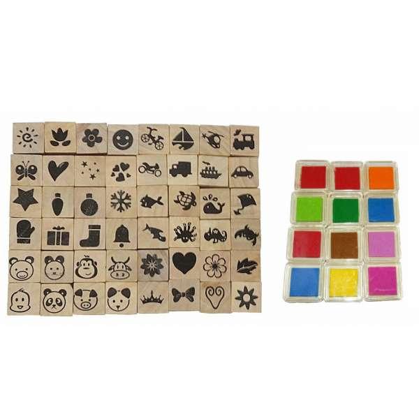 60tlg Stempel-Set incl. Stempelkissen Stempel Holz Stempelsatz vers. Farben und Motive