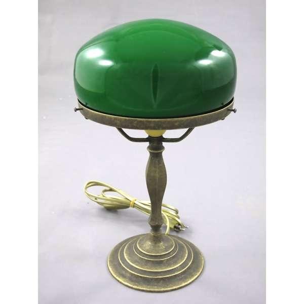 Nostalgische Pilzlampe Bankerlampe Messing grüner Pilz Schirm Schreibtischlampe
