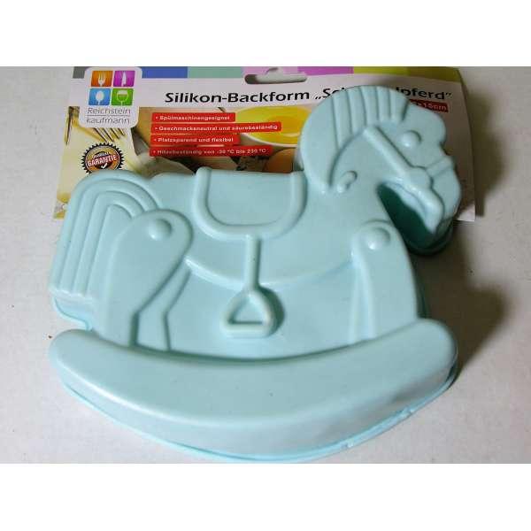 Silikon Backform Schaukelpferd blau 18cm Kuchenform Cupcake Form Kinder Weihnachten