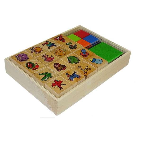 18tlg Stempel-Set incl. Stempelkissen Stempel Holz Stempelsatz Giraffe Papagei