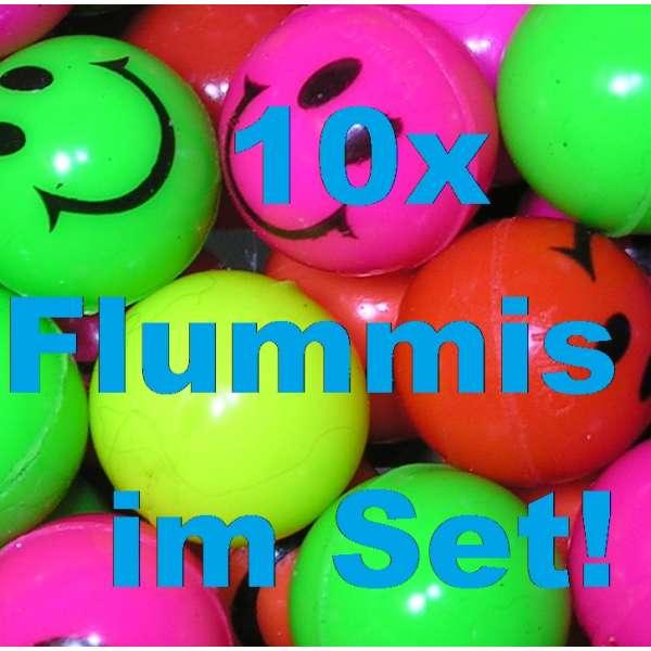 10x bunte Flummis Smiley Gummiball Huepf Ball Springball Flummi Tombola Mitgebsel