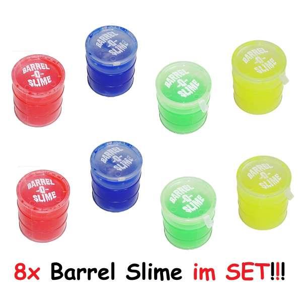 8x Barrel Slime Glibber Öltonne Schleim im Fass Kindergeburtstag Party Spaß Bunt