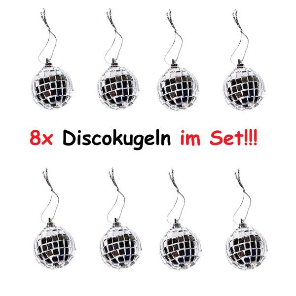 8x Christbaumschmuck Mini Discokugel silber Party Spiegel Kugel Weihnachten Deko