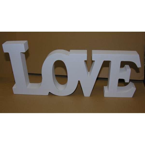 Schriftzug LOVE weiss Holz Buchstaben Aufsteller Deko MDF 33x14,5 cm DEKO