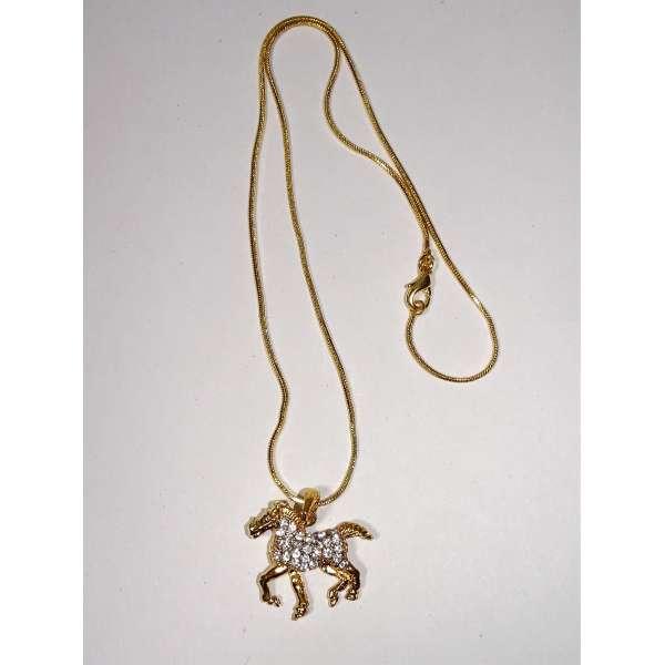 Halskette mit 3D Pferde-Anhänger goldfarben mit Strass 40cm Bling Pferd Kette Reiter