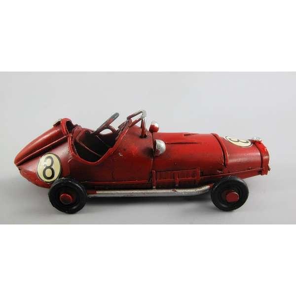 Modell Auto Rennwagen Sportwagen Blech 11cm Racing Oldtimer Deko Retro Stil Rot