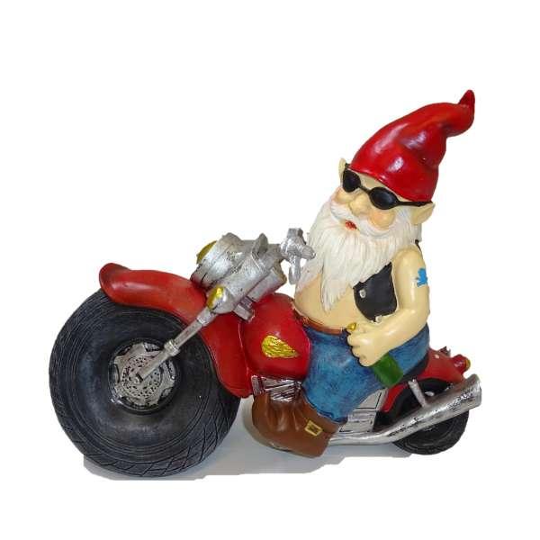 Gartenzwerg auf Motorrad Rocker Biker Zwerg Garten Deko Figur ca. 32cm groß Keramik