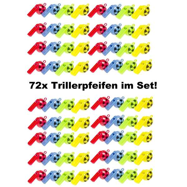 72x Kinder Trillerpfeife Signalpfeife Fussball Pfeife Mitgebsel Tombola Party Feier
