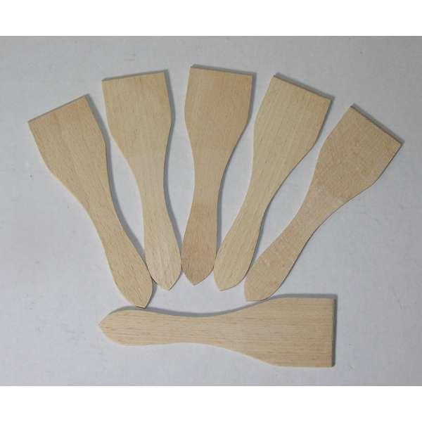 6 Raclettespachtel aus Holz 13cm Pfannenwender Raclette Schaber Spachtel Wok