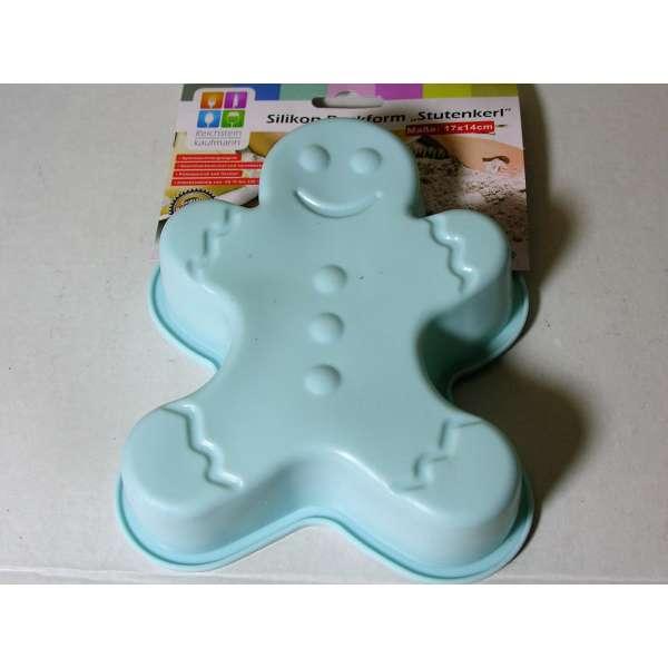 Silikon Backform Stutenkerl Weckmann blau 17cm Kuchenform Cupcake Form Weihnachten