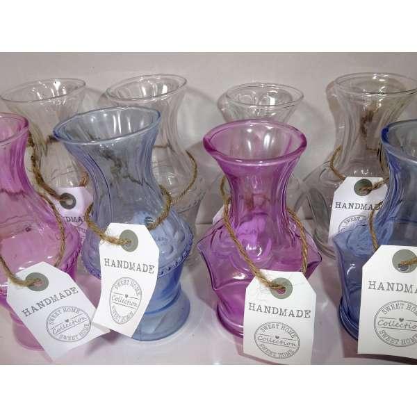 24x Glasvase Loriann Blumenvase Vase Tischdeko Deko Flasche Shabby Landhaus Handarbeit
