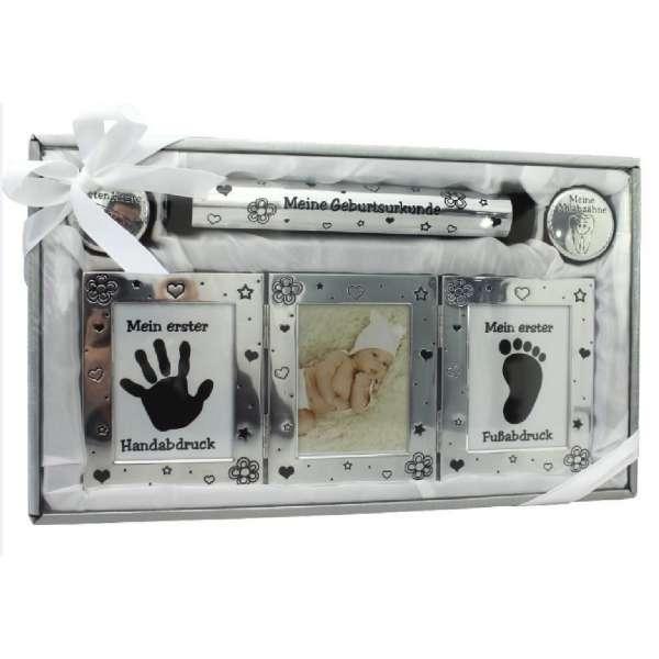 Babyset Bilderrahmen Handabdruck Geburtsurkunde Dose ersten Haare Milchzähne