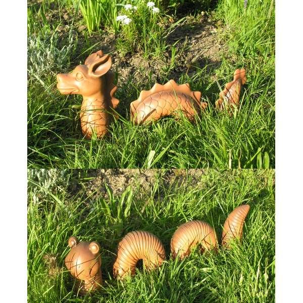 Lustiger Garten Deko Drachen und Wurm im Set Figur Polystone Fantasy