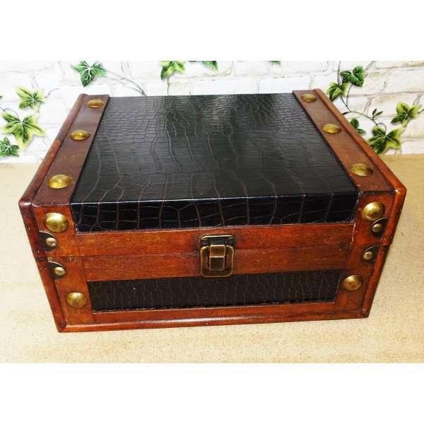 Aufbewahrungskiste Box Aufbewahrung Deko Truhe Holz Kunstleder Antik 28cm breit
