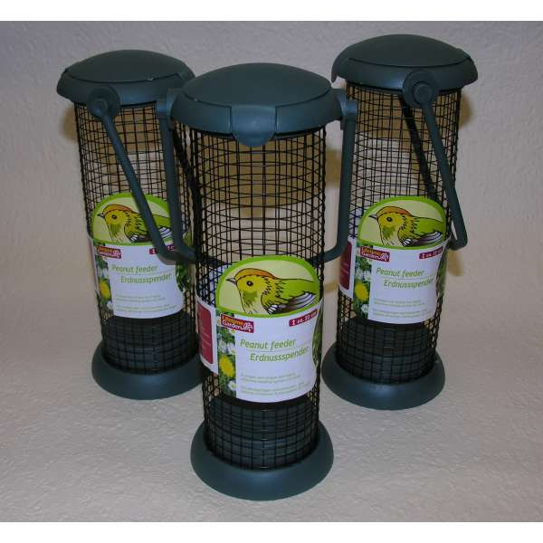3x Futterspender grün 22cm Vogel Futterstation Kunststoff Erdnussspender