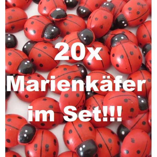 20x Marienkäfer Glücksbringer Deko Streuteile Aufkleber Holz selbstklebend