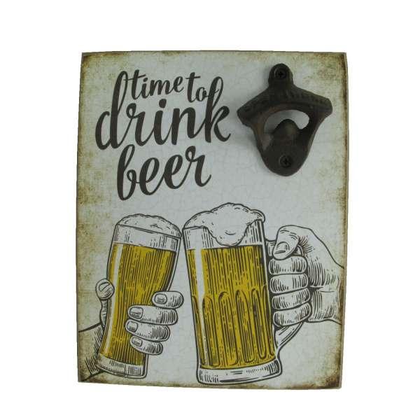Wand Bieröffner Time to drink Beer Flaschenöffner Wandschild Öffner Bar Retro