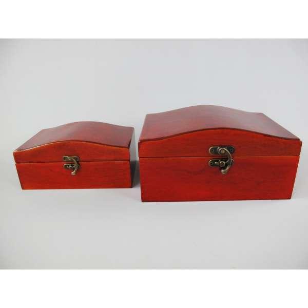 2x Schmuckkästchen im Set Holz Schmuck Schatulle Koffer Truhe Mahagoni-Optik braun