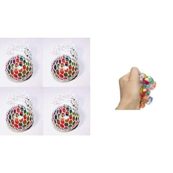 4er Set Quetschball Anti Stressball Knautschball Stress Knet Ball im Netz bunt