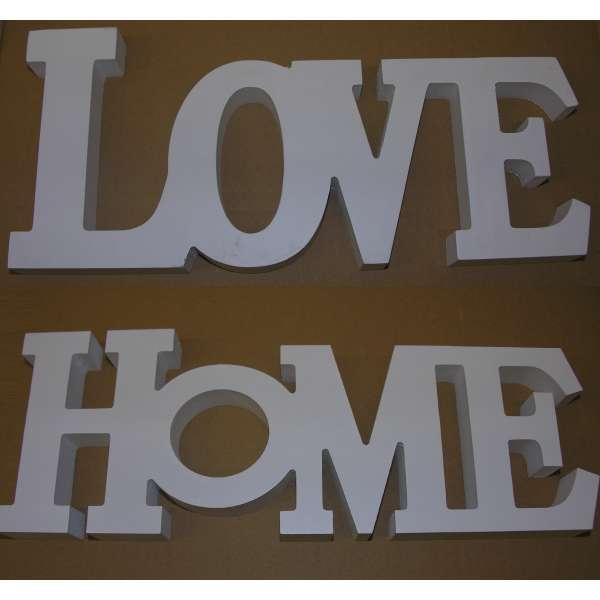 2er Set Schriftzug LOVE+HOME weiss Holz Buchstaben Aufsteller Deko MDF 33x14,5cm