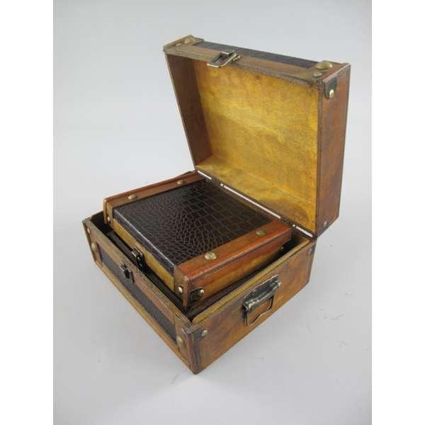 2er Set Aufbewahrungskiste Box Aufbewahrung Deko Truhe Holz Kunstleder Antik