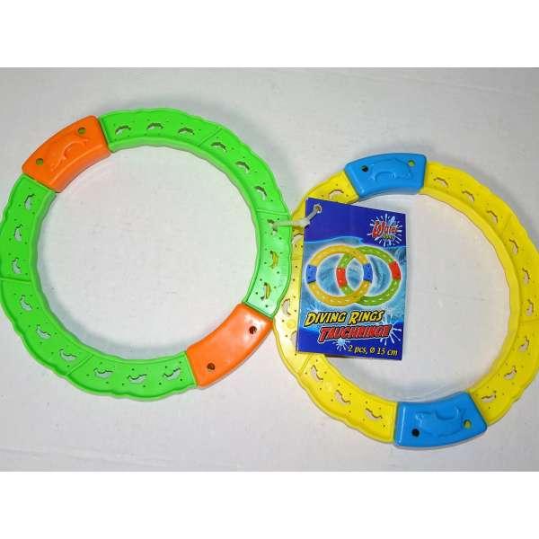 2er Pack Tauchringe Ø15cm aus Kunststoff Pool Schwimmbad Tauchen Wasser Spiel Diving Ring