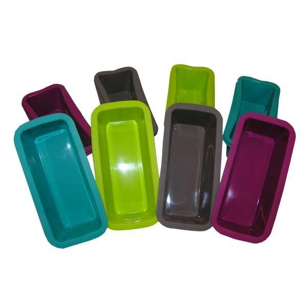 12er Set Mini SilikonBackform Kuchenform Kastenform Eisform Brot Backen 4 Farben