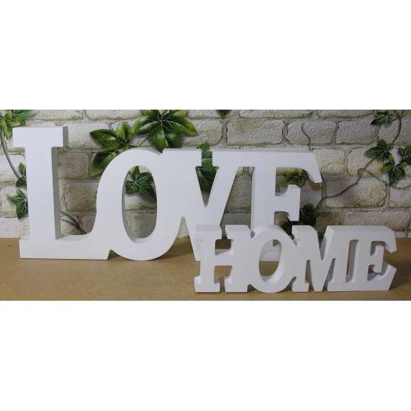 Schriftzug LOVE 33cm + HOME 19cm im Set Buchstaben Holz Schild Shabby Deko MDF